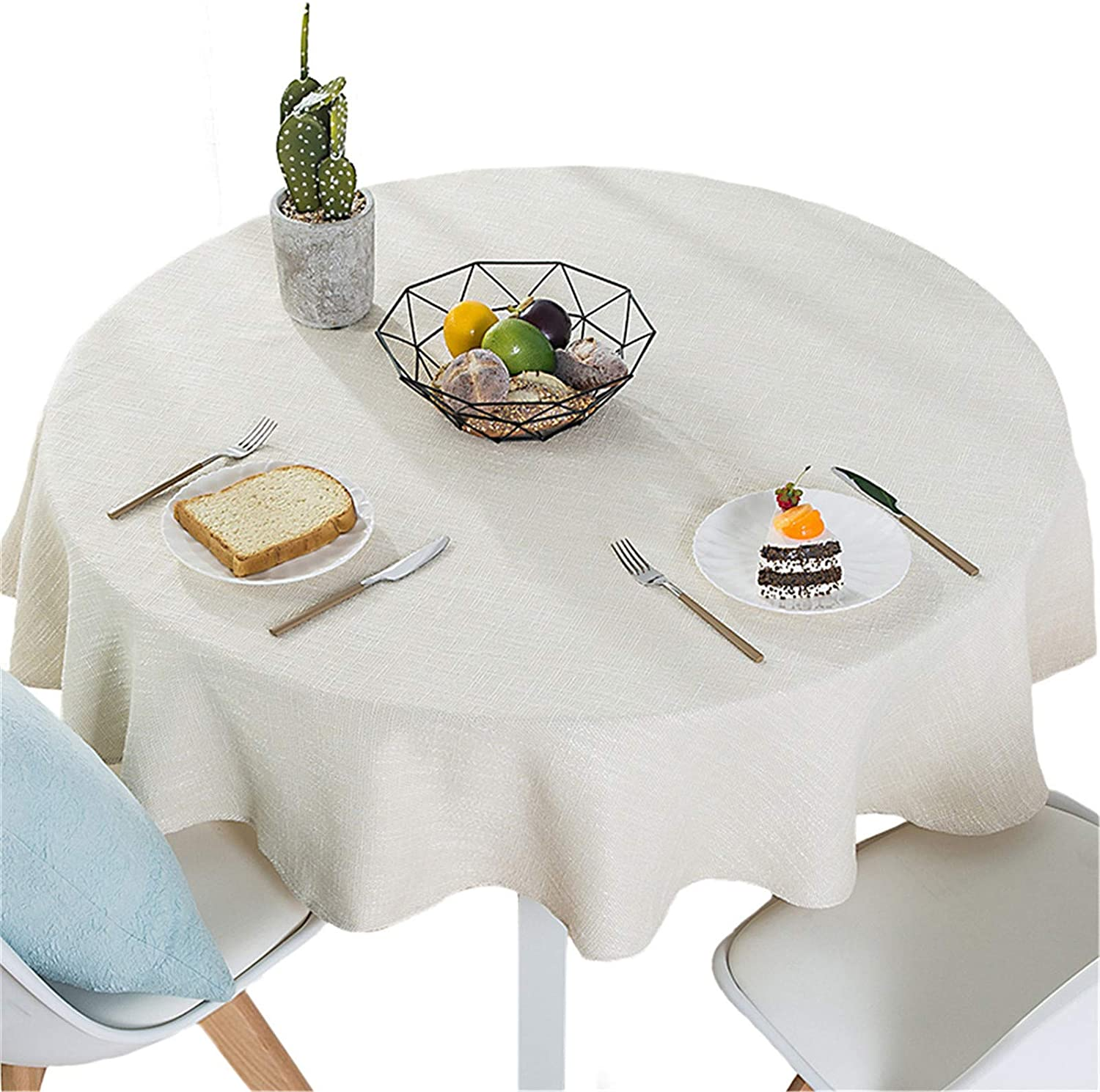 Bettery Home Cotton Linen Solid Color Tablecloth Round Simple Style Table Cover for Kitchen Dining Tabletop Linen Decor (Off White, Round - 70 Inch)