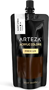 ARTEZA Acrylic Paint, Burnt Umber Color, (120 ml Pouch, Tube), Rich Pigment, Non Fading, Non Toxic, Single Color Paint for Artists, Hobby Painters & Kids