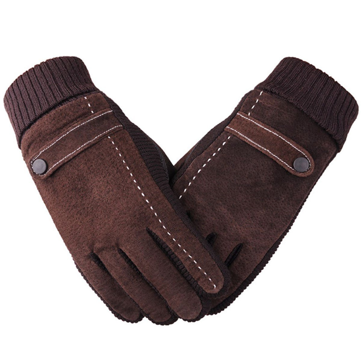 D.King Mens Winter Outdoors Gloves Suede Leather Knit Cuff with Thick Fleece Lining Mittens Brown
