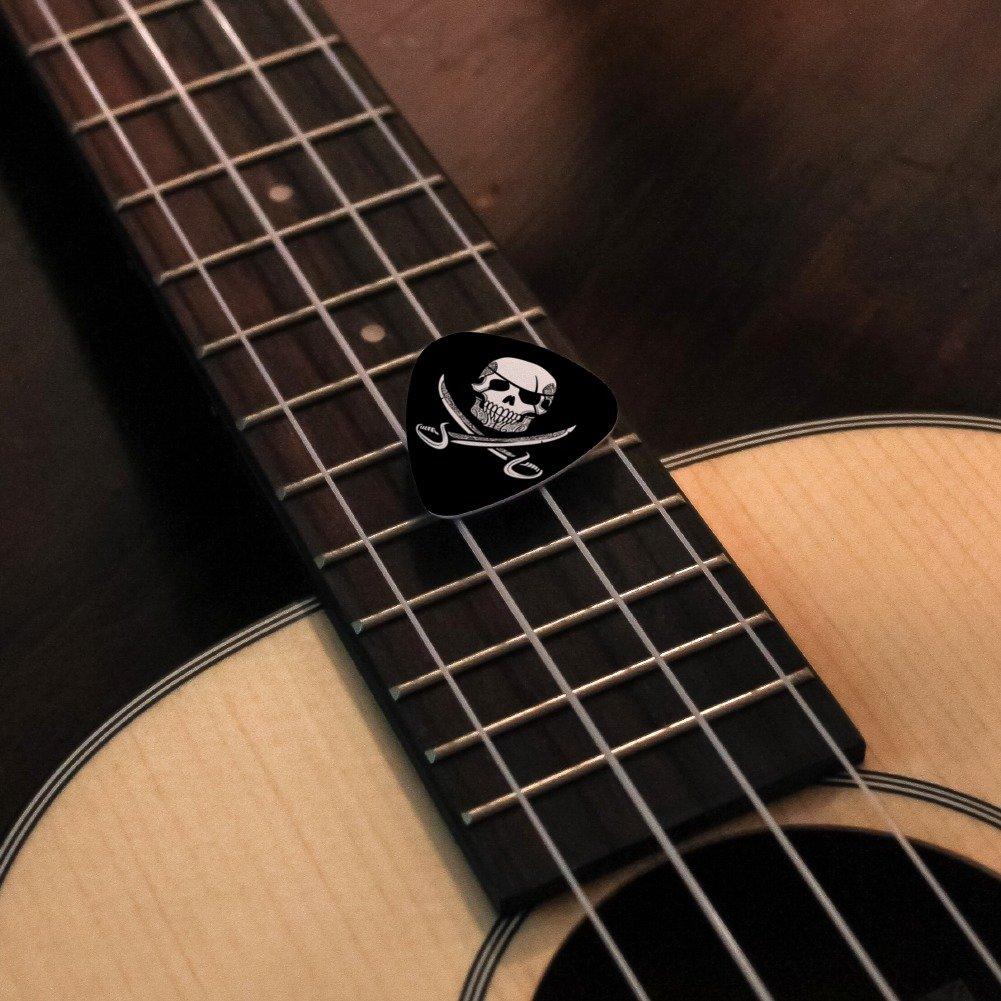 Pirata Calavera cruzado espadas diseño de tatuaje de la novedad Guitarra púas de calibre mediano - Juego de 6: Amazon.es: Instrumentos musicales