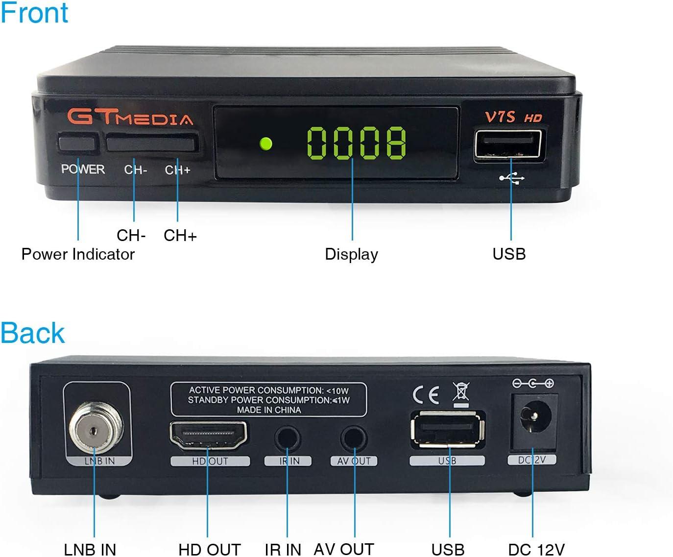 GT MEDIA V7S HD Receptor Satélite DVB-S/S2 Decodificador de TV por ...