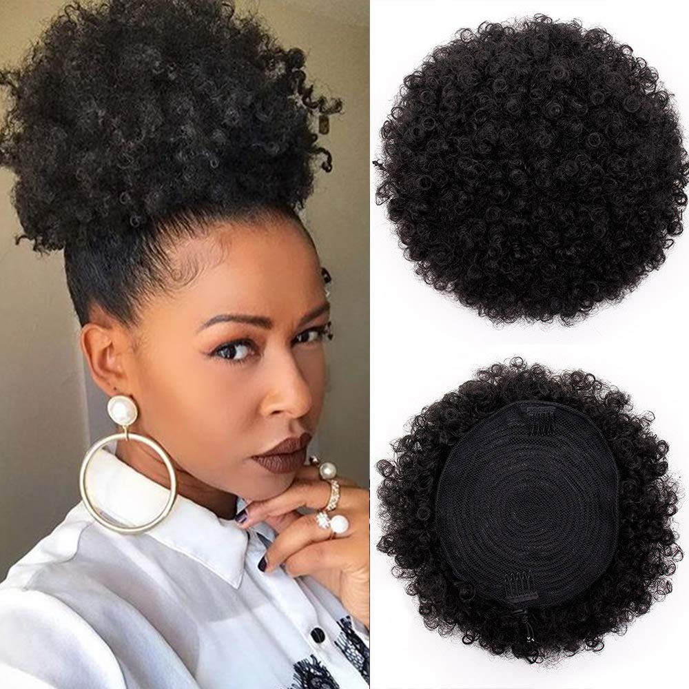 AISI QUEENS Synthetic Afro Puffs Drawstring Ponytail Bun Hairpieces Updo Hair Puff Short Kinky Curly Hair Large Size (Black-1B#) by AISI QUEENS