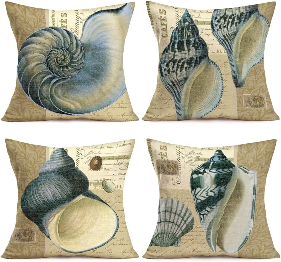 """18/"""" Cushion Home Decor Conch Coral Ocean Animal Style Linen Throw Couch Pillow"""