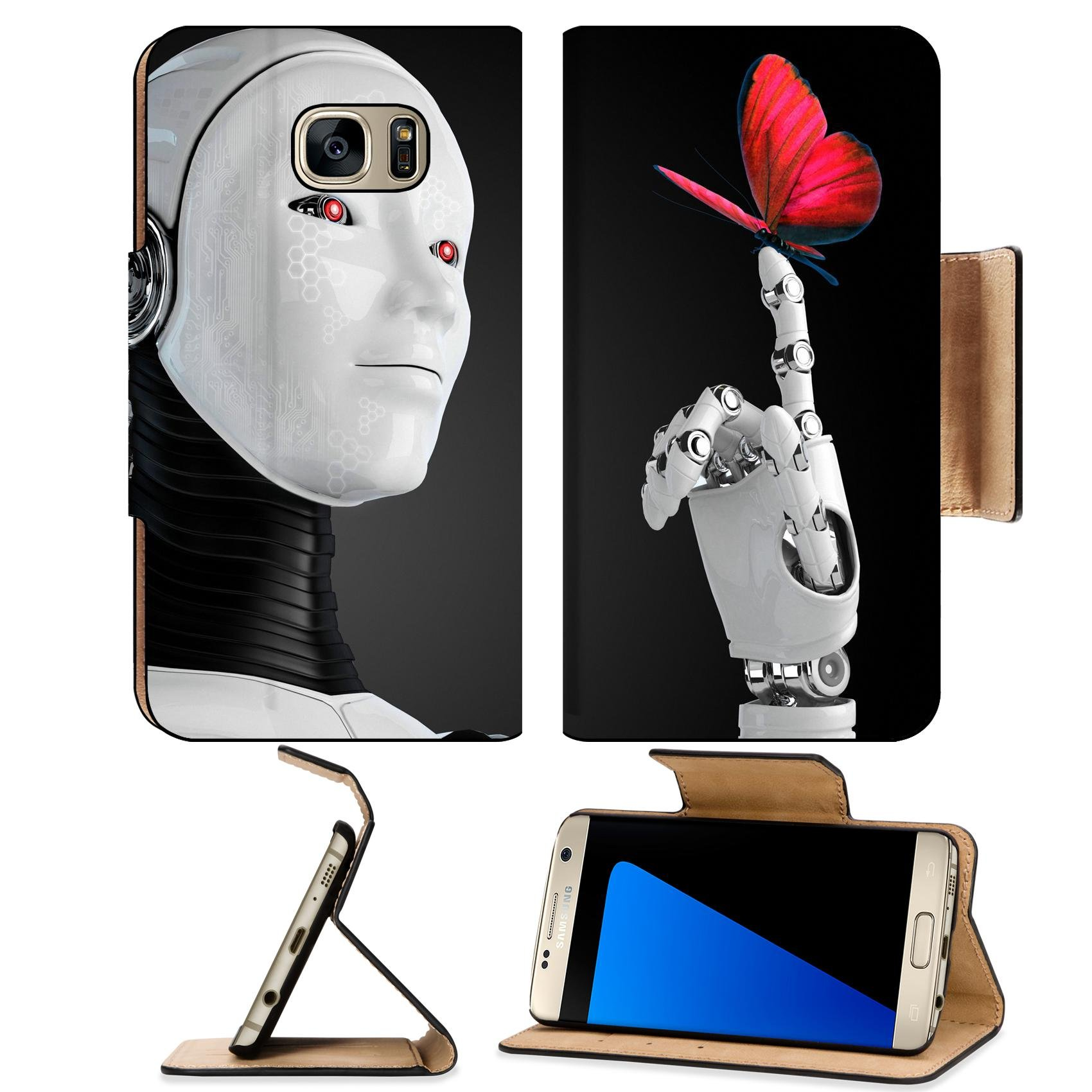 Luxlady Premium Samsung Galaxy S7 Edge Flip Pu Wallet Case IMAGE ID: 23425686 robot android woman with butterfly