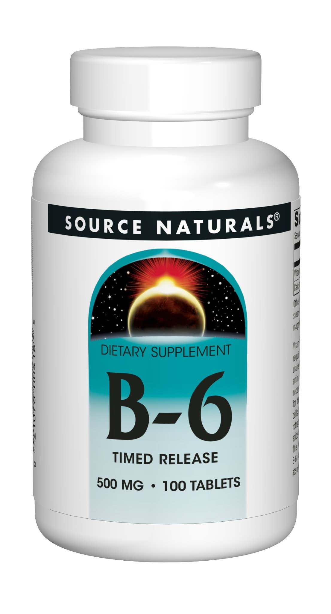 Vitamin B-6 500 mg 100 Timed Release Tablet (Pack of 2) by Source Naturals