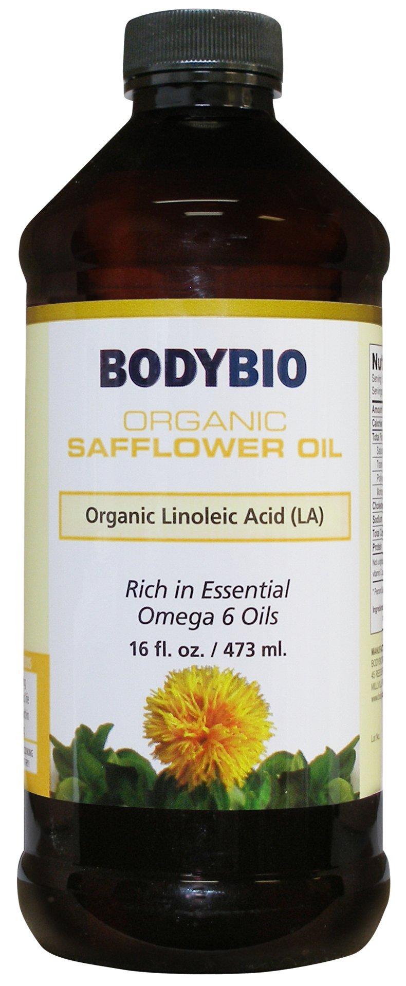 BodyBio - Organic Safflower Seed Oil - Unrefined, Cold Pressed, High Linoleic Acid, 16oz