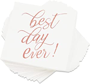 Best Day Ever Party Decorations, White Napkins (5 x 5 In, Rose Gold Foil, 50 Pack)