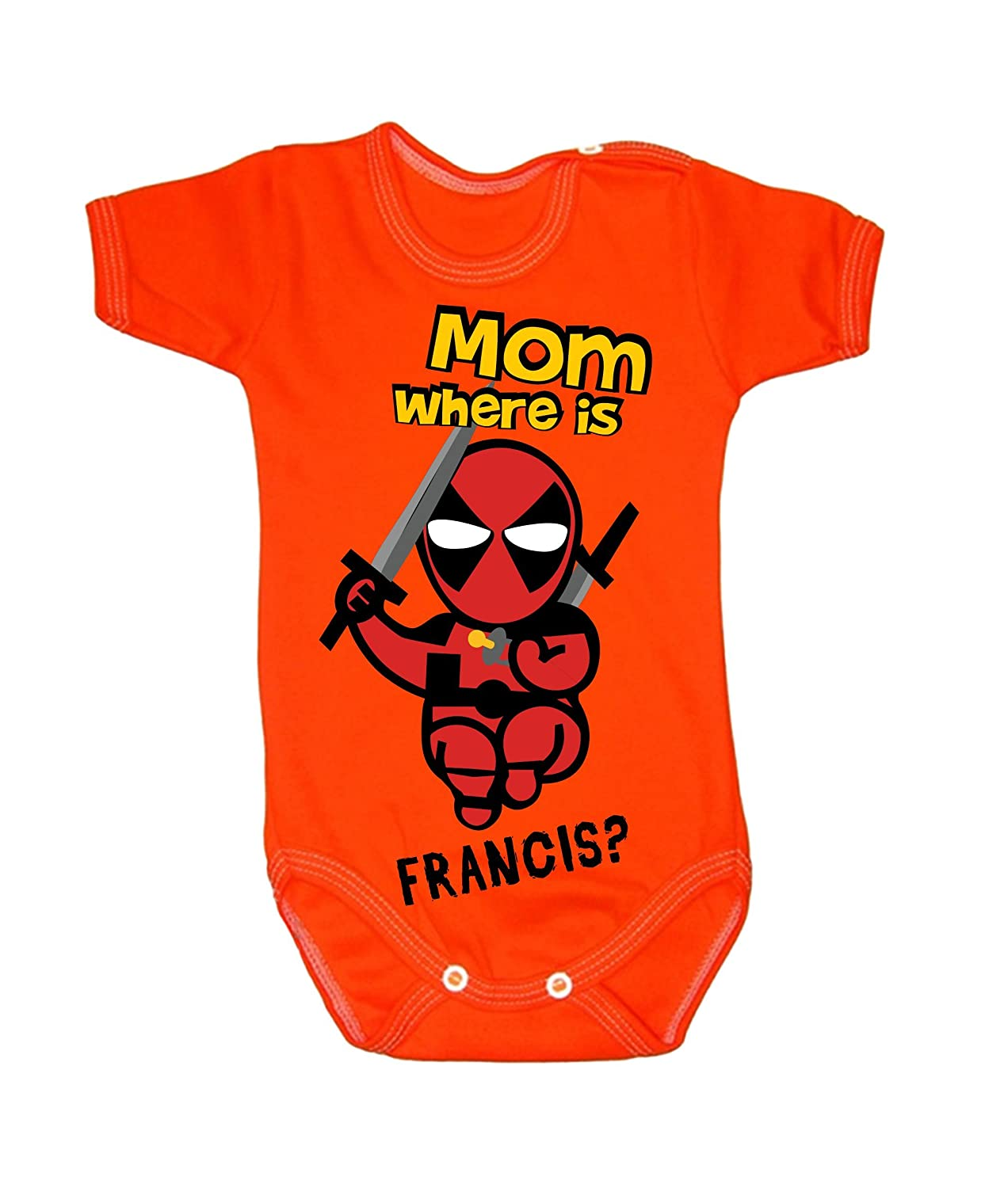 Deadpool Baby Grow Body Suit Vest Mum Where Is Francis baby shower gift