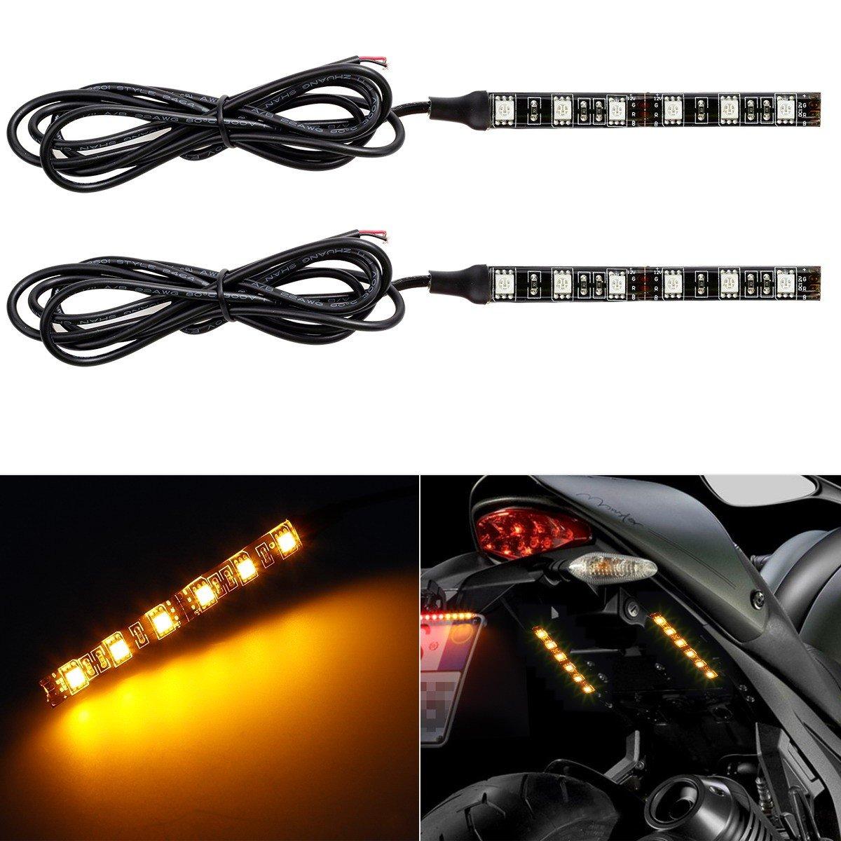 Partsam LED Strip Light Bar 2 x 6 LED Mini Black Third Brake Light Motorcycle Turn Signal Backup License Plate Universal Amber Lights Strip