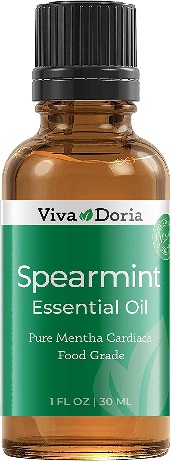 Viva Doria 100% Pure Spearmint Essential Oil, Undiluted, Food Grade, High Quality Spearmint Oil, 30 mL (1fl oz)