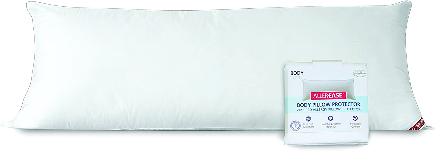 AllerEase 100% Cotton Allergy Protection Body Pillow with Zippered Cover –Soft Body Pillow with Plush, Microfiber Cover, Allergist Recommended, Prevents Buildup of Dust Mites and Household Allergens: Home & Kitchen