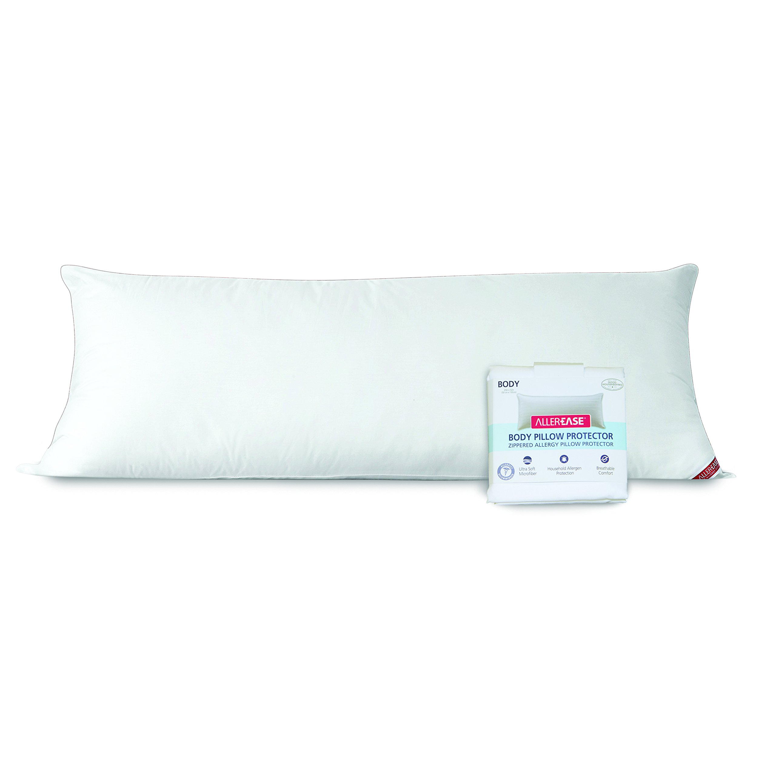 AllerEase Cotton Hypoallergenic Allergy Protection Body Pillow with Zippered Body Pillow Cover, 20'' x 54'' - White by Aller-Ease