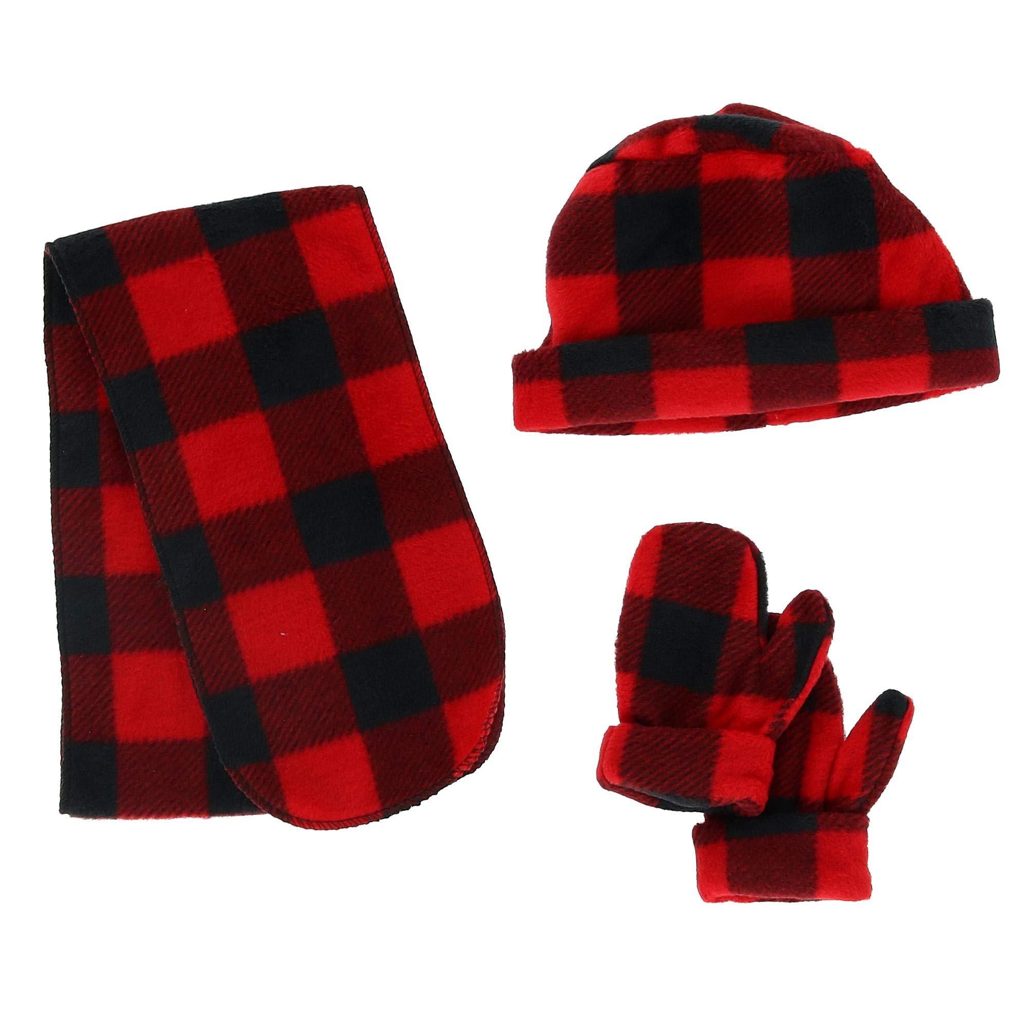 Nollia Kids' 2-5 Fleece Buffalo Plaid 3 Piece Winter Set, Red