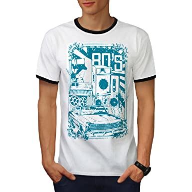 b6feb34f4e8 Wellcoda 8s Music Car Vintage Mens Ringer T-Shirt, Music Graphic Design Tee:  Amazon.co.uk: Clothing