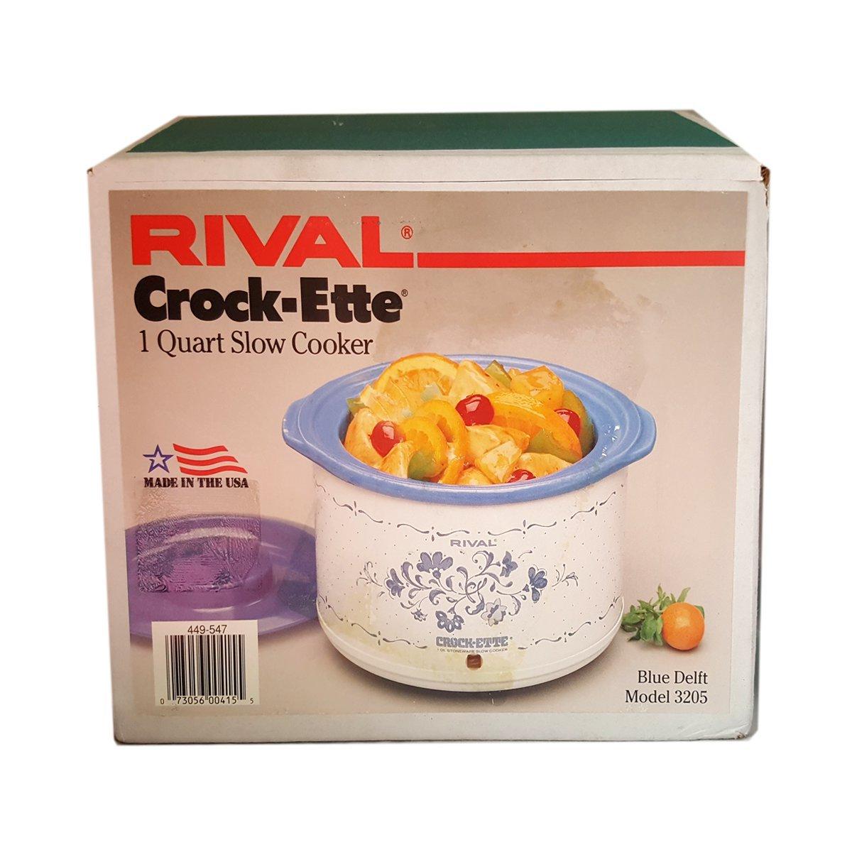 Rival Vintage 1986 Crock Pot Model 3205 Blue Delft 1 Quart Slow Cooker