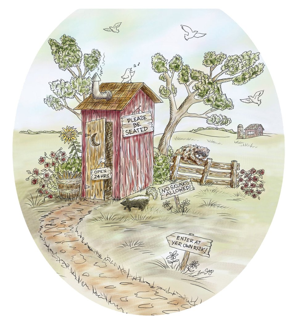 Toilet Tattoos TT-LS03-R Lori's Outhouse Decorative Applique for Toilet Lid, Round by Toilet Tattoos