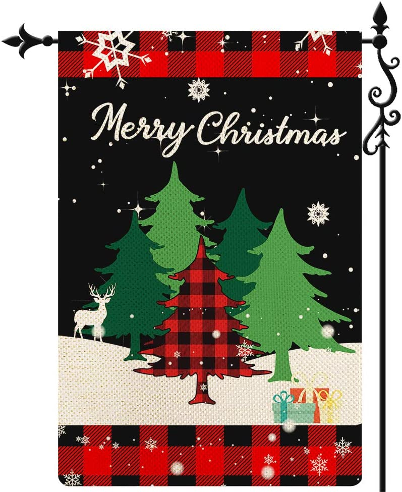 Coskaka Merry Christmas Garden Flag, Xmas Tree Flag Elk Snowflake Vertical Double Sided Rustic Farmland Black Red Buffalo Check Plaid Burlap Yard Lawn Outdoor Decor 12.5x18 Inch