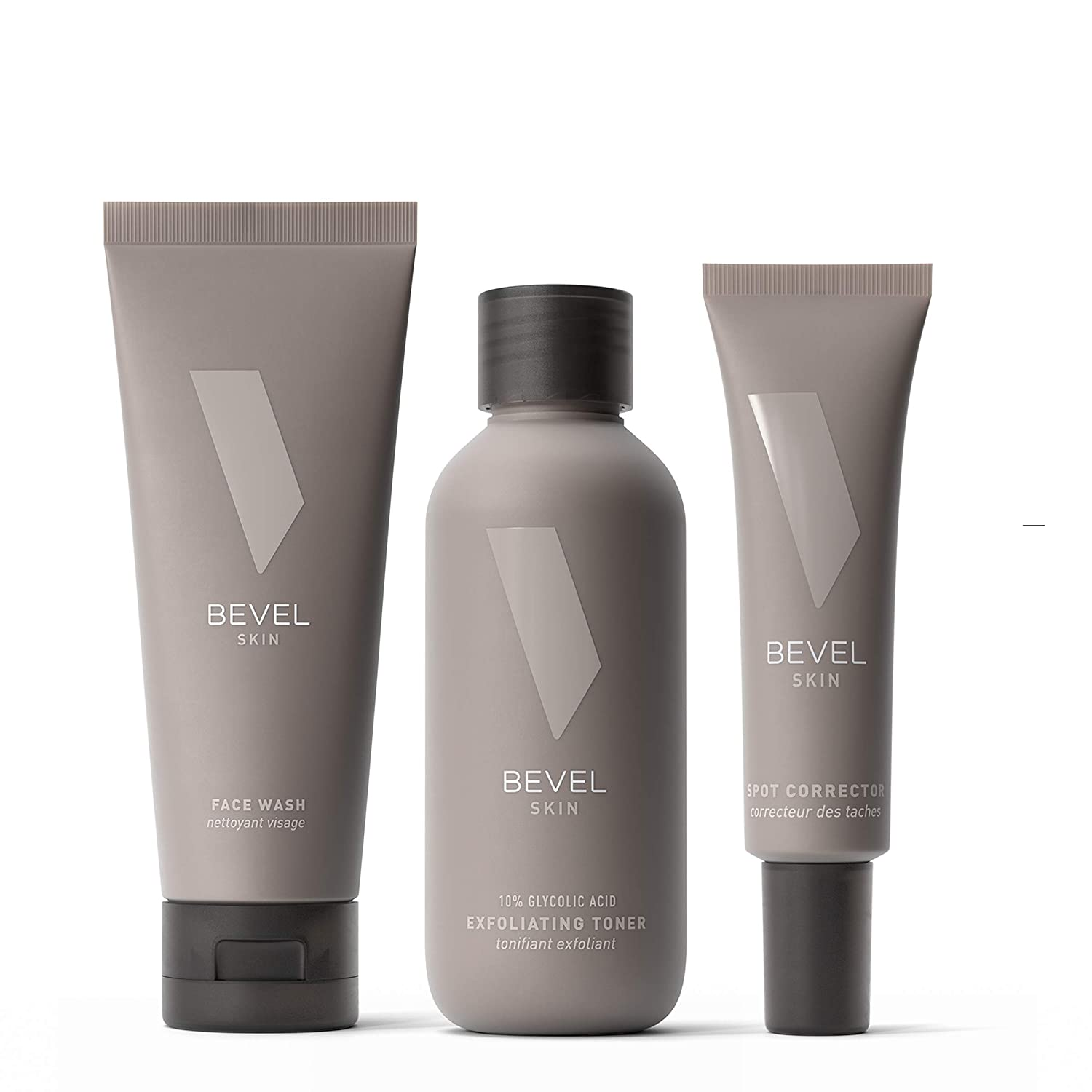 Skin Care Set for Bumps & Ingrown Hair by Bevel - Shave & Skin Rescue Kit Includes Face Wash with Tea Tree Oil, Exfoliating Toner, and Spot Corrector to Treat Blemishes, Bumps, and Discoloration