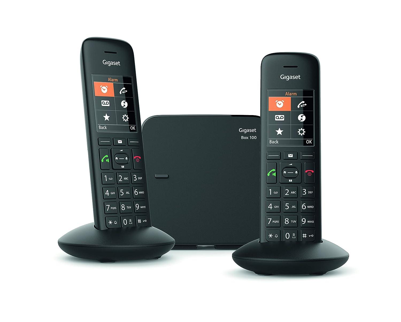 Gigaset C570 Duo - Teléfono (Teléfono DECT, Terminal inalámbrico, Altavoz, 200 entradas, Identificador de Llamadas,Sin Contestador, Negro)