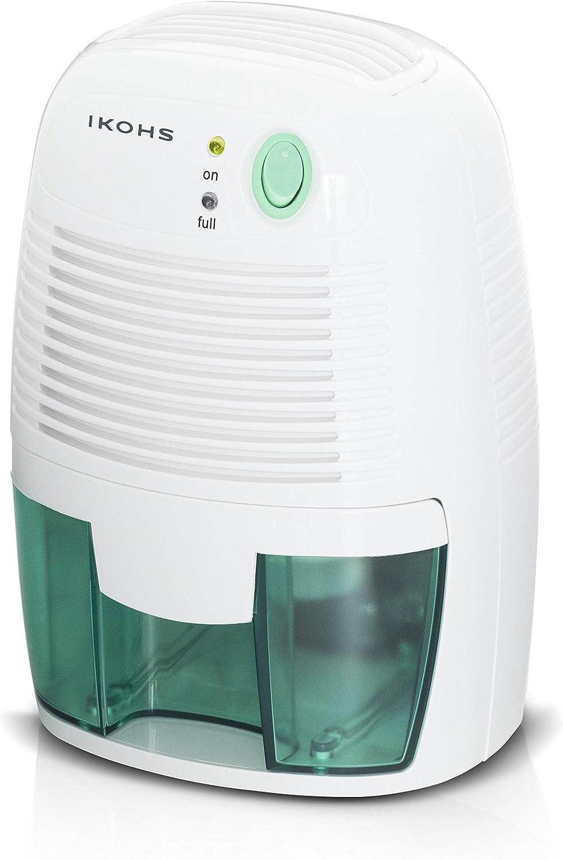 IKOHS DRYZONE - Deshumidificador de Aire Electrico, Mini Deshumidificador 500ml Portátil y Silencioso, Apagado automático, Purifica Aire y Evitar Bactéria y Humedad, Compacto y Ligero (Blanco,500ml)