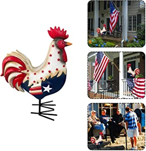 Patriotic Color Painted Rooster Figurine Decorations for Home Garden Porch, 10x12 Inches Metal Resin Sculpture 4th of July USA American Flag Yard Decor Indoor Outdoor