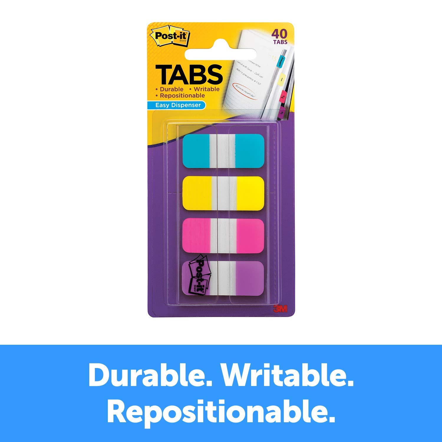 Post-it Tabs.625 in. Solid, Aqua, Yellow, Pink, Violet, Durable, Writable, Repositionable, Sticks Securely, Removes Cleanly, 10/Color, 40/Dispenser, (676-AYPV) (24) by Post-it