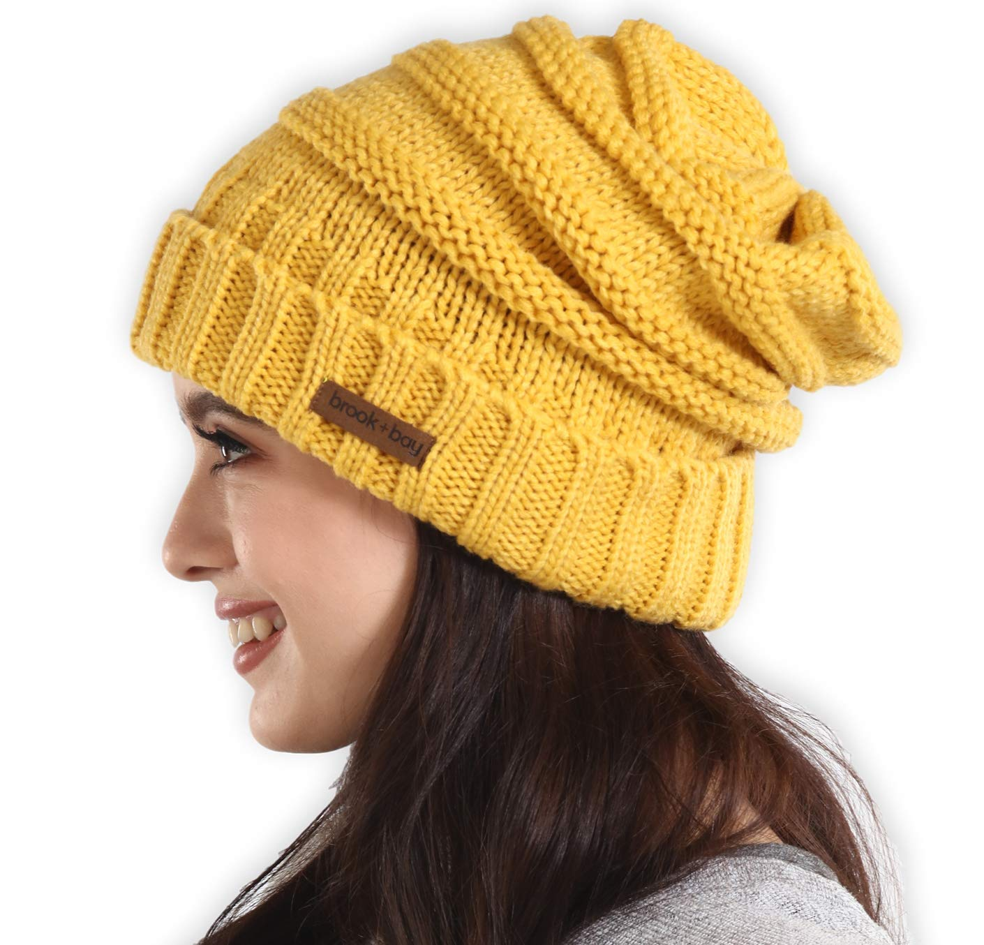 69232f57583b9 Brook + Bay Slouchy Cable Knit Cuff Beanie - Stay Warm   Stylish - Chunky