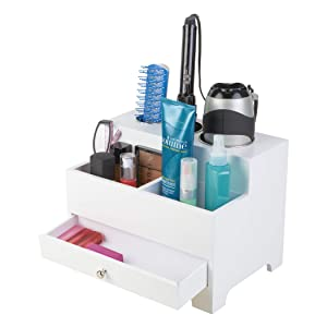 "Richards Homewares 987501000 Hair Styling Storage Chest - Wood, 9""Hx12""Wx8.5""D, White"