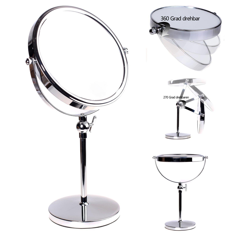 HIMRY Miroir Maquillage, Hauteur Réglable, 10X Grossissement, Ø 20 cm, Miroir de Table Double Visage, Miroir de salle de bain, Tournant Miroir de Rasage, orientable sur 360°, chromage, KXD3101-10x KXSHOP
