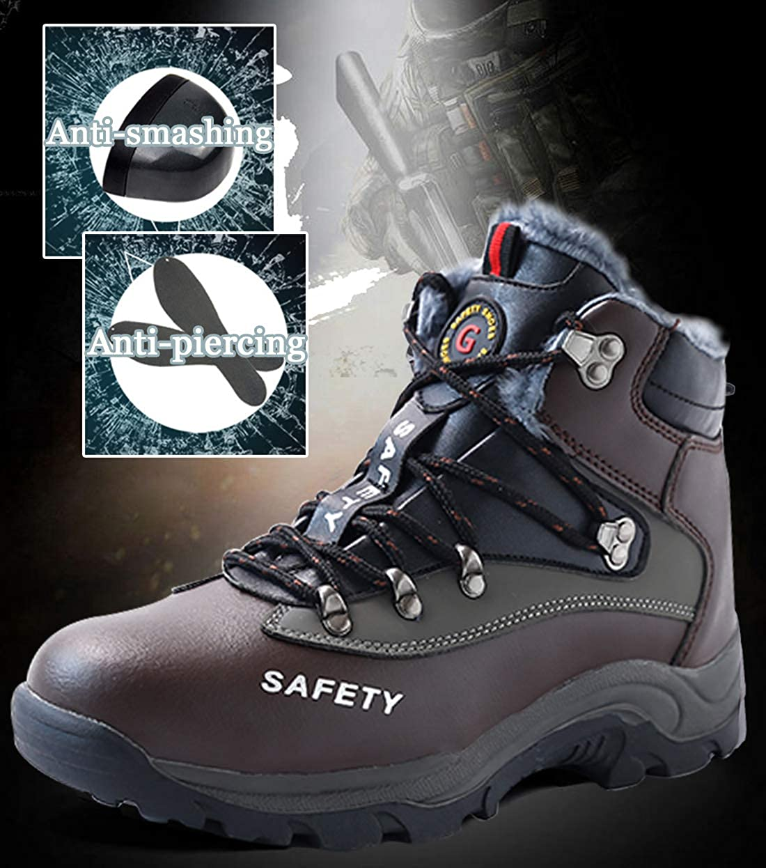 SROTER Safety Shoes for Men Steel Toe Fully Fur Lined Lightweight Warm Work Shoes Women Safety Boots Industrial Leather Ankle Footwear Winter