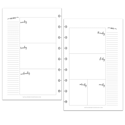 Planner not included Refill Pages for the 9 Disc Discbound Systems Undated Weekly Planner Inserts 7.00x9.25 inches Size 7