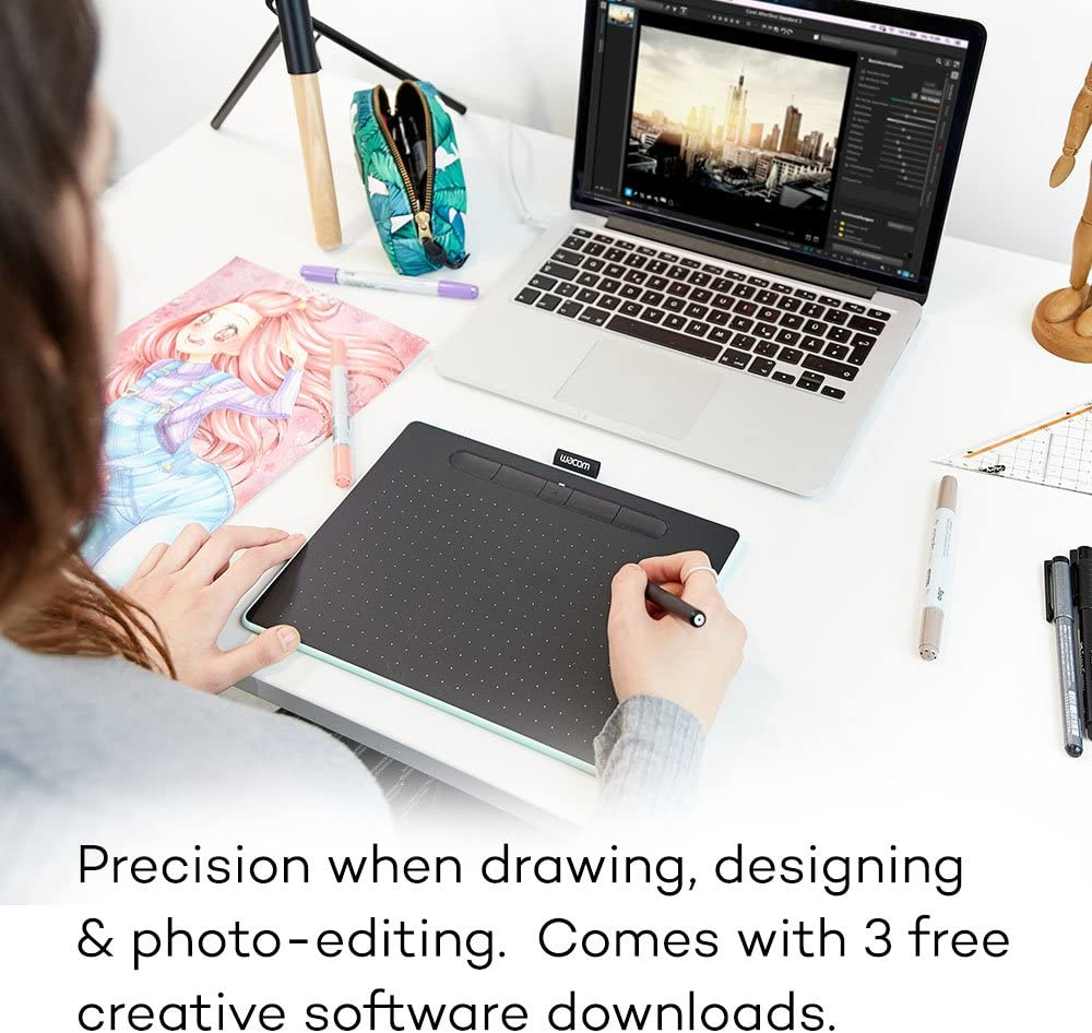 Bundle with Wacom ACK20001 Standard Nibs Black Wacom Intuos Wireless Graphics Drawing Tablet with 3 Bonus Software Included CTL6100WLK0 10.4 X 7.8