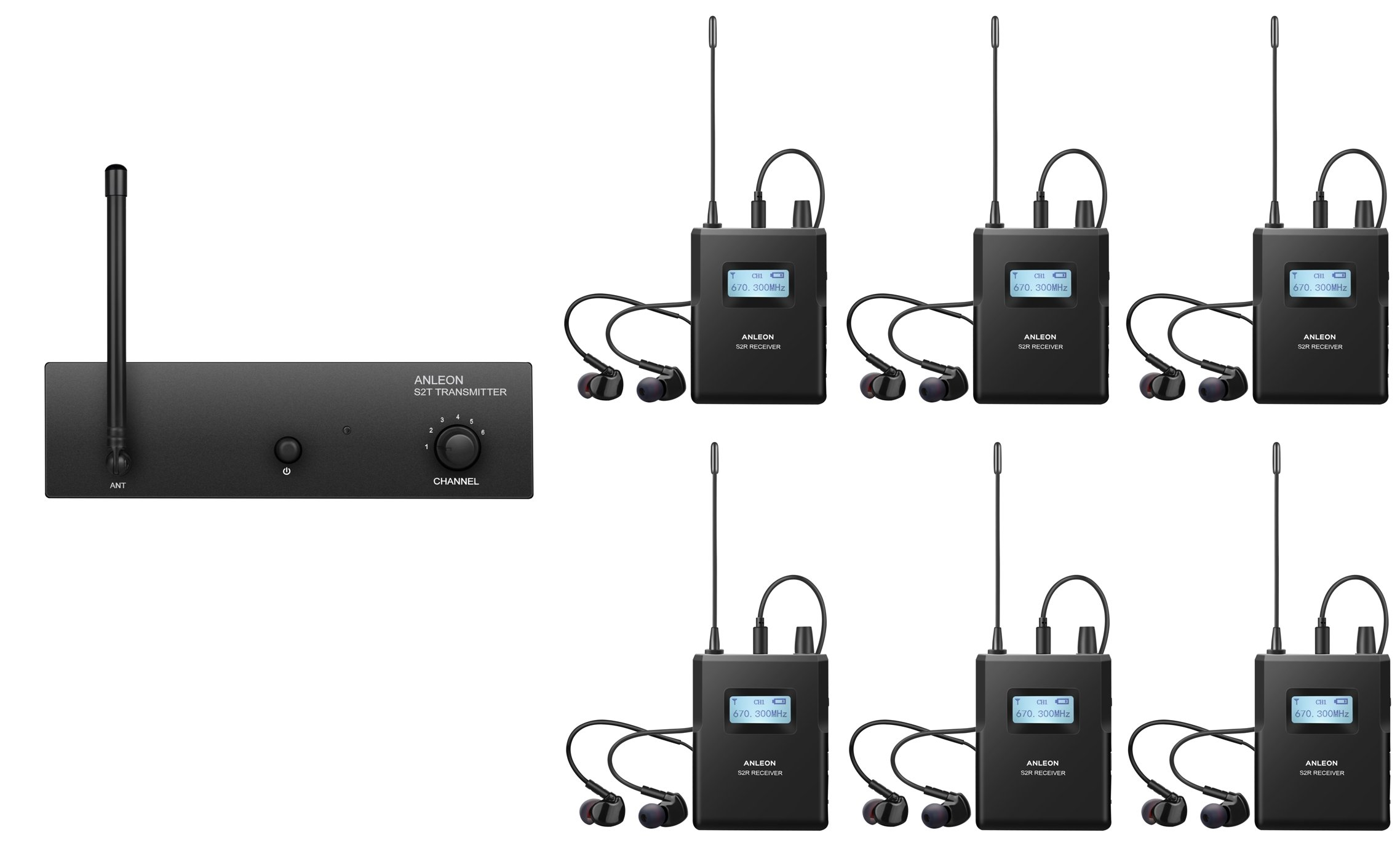 ANLEON S2 Professional Wireless In-ear Monitor System (1 Transmitter & 6 Receiver)