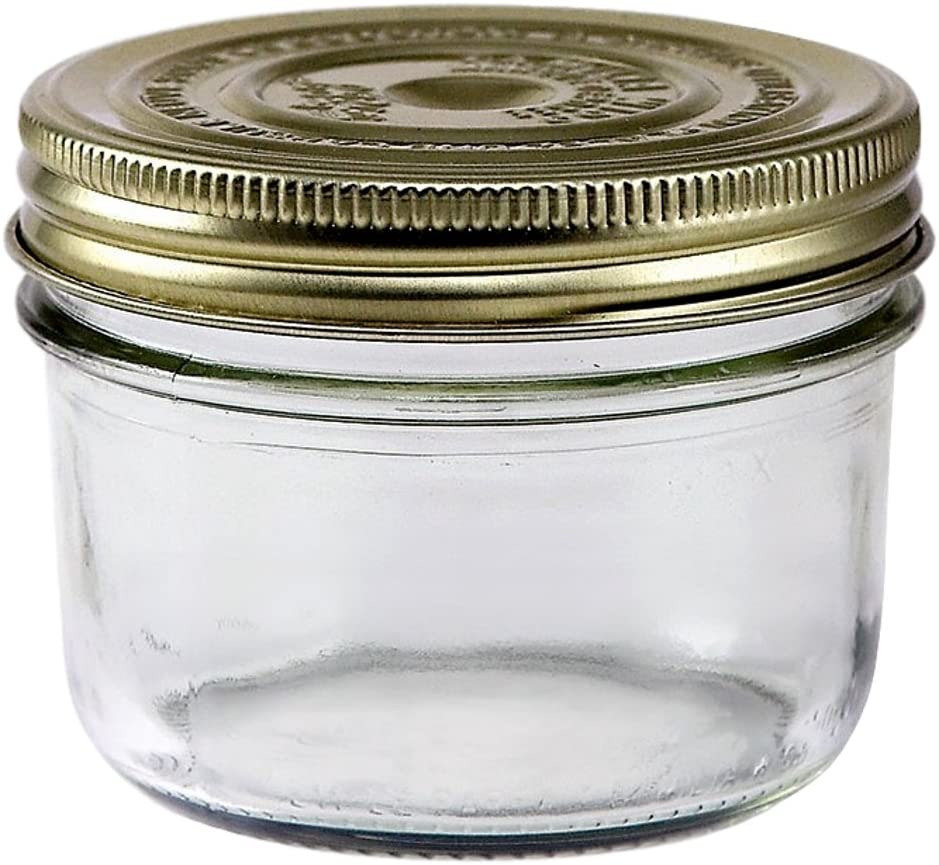 Le Parfait Familia Wiss Terrine - 350ml Wide Mouth French Glass Mason Jar w/ 2-Piece Gold Lid, 12oz (Pack of 4)