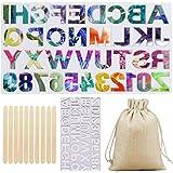 Molde de silicona de resina de alfabeto, letras de resina epoxi grandes, molde de fundición para llavero, colgante de joyería