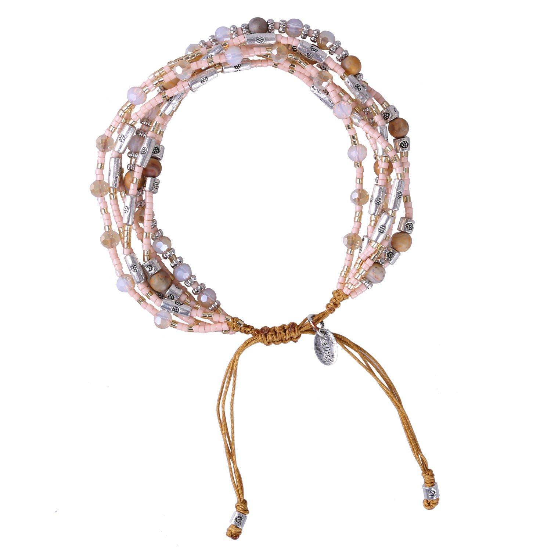 KELTICH Multistrand Seed Bead Bracelet Handmade String Friendship Bracelet Adjustable for Women
