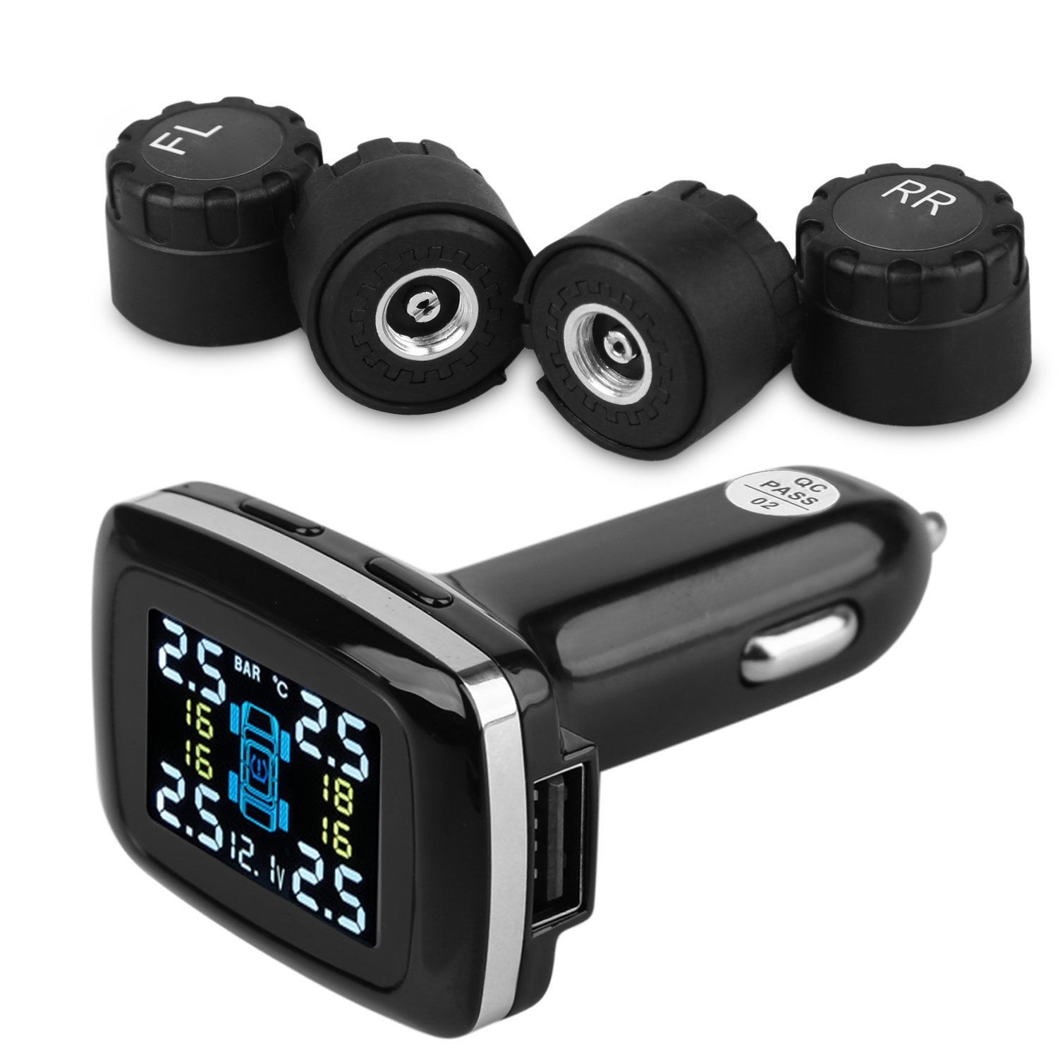 Time Collect TPMS Tire Pressure Monitoring System with 4 External Sensors with USB Charger Port Cigarette Lighter