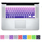 "DHZ Big Font Violet Gradient Keyboard Cover Silicone Skin for MacBook Air 13 and MacBook Pro 13"" 15"" 17"" (with or w/out Retina,Not Fit 2016 Macbook Pro 13 15 with/without Touch Bar) US Layout"