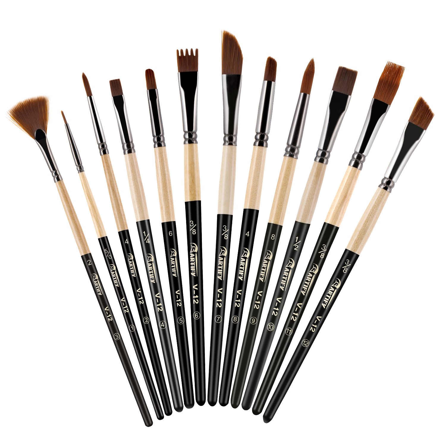 Artify 2018 New 12 Pcs Paint Brush Set with Amber Nylon Hairs Perfect for Acrylic, Oil, Watercolor, Gouache and Face Painting