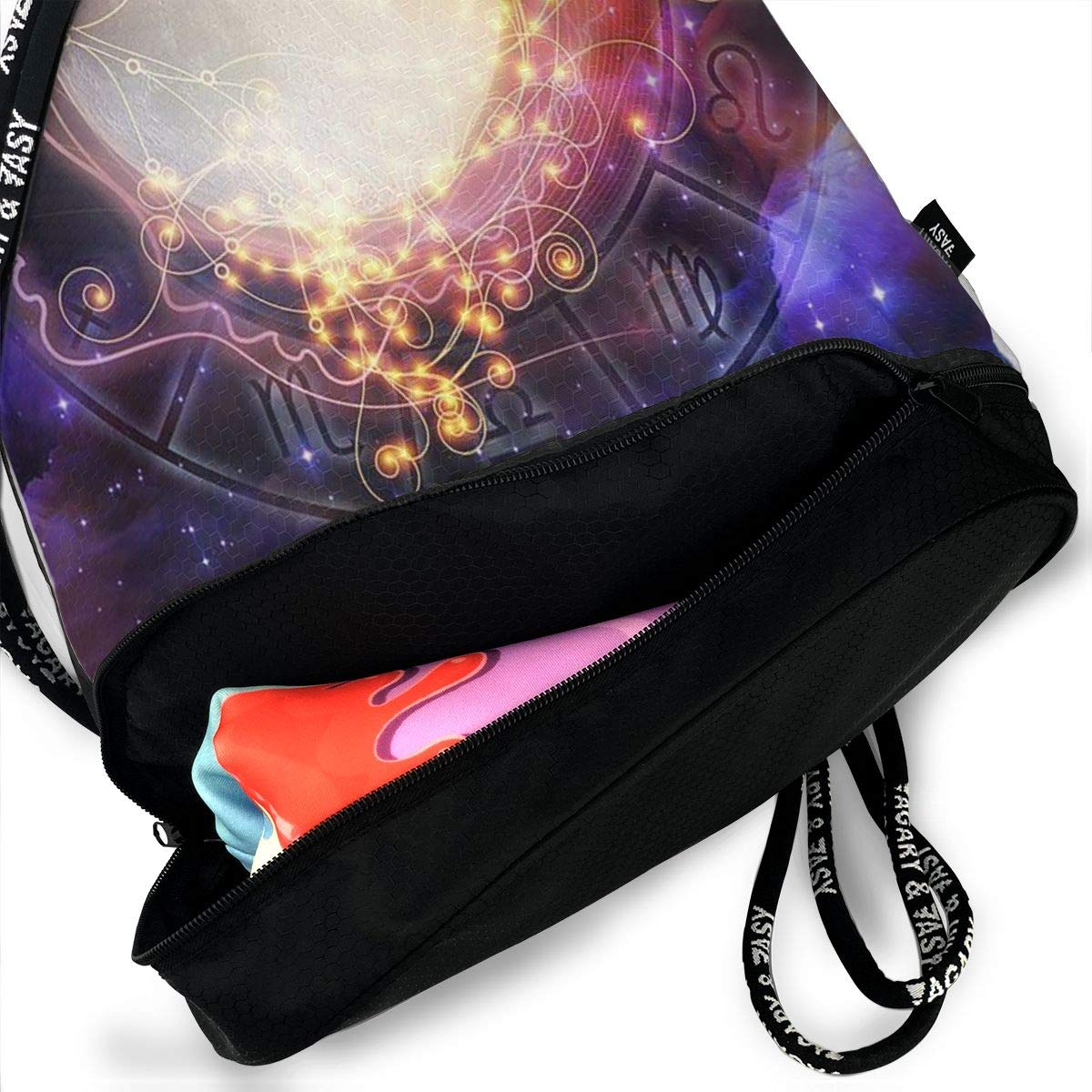 Portable Bundle Backpack Cat Wearing Santa Hat Drawstring Bag For Girls /& Boys Gym Yoga Runner Sports Daypack