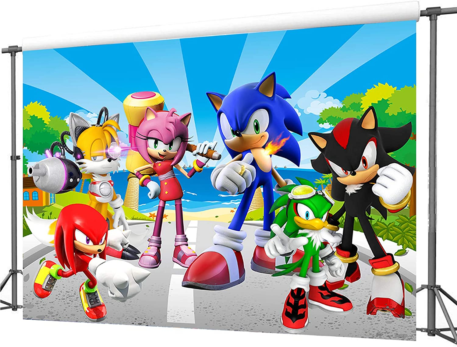 Amazon Com Zlhcgd 7x5ft Sonic Photography Vinyl Photo Background For Kids Birthday Party Backdrops Decoration Toys Games