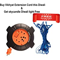 Vikhyat DzireX 6A .240V AC 5 m Red and Black Extension Board 2 Pin Flex Box with Switch and Indicator with String Light