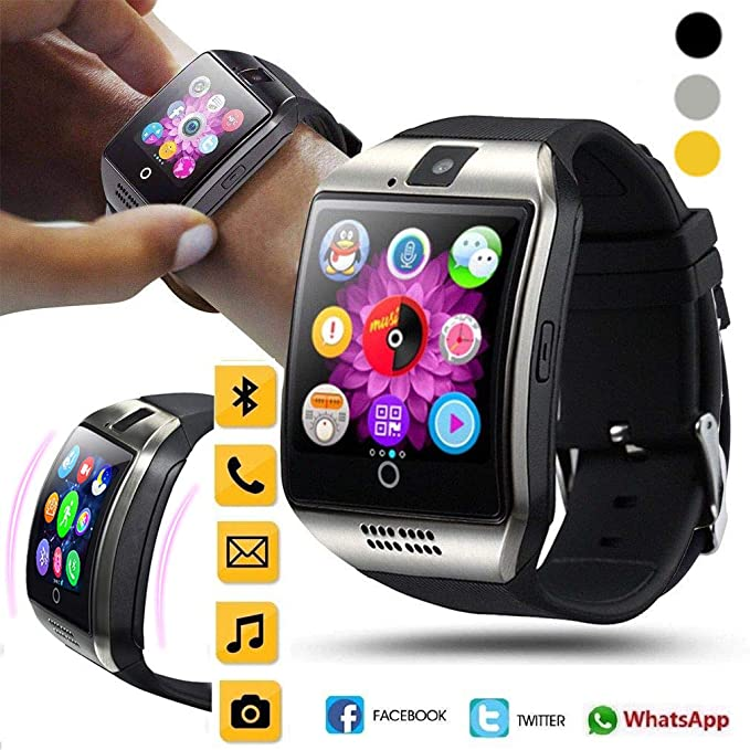 JiaMeng Reloj Elegante del TelšŠfono de la Tarjeta del TF de la cš¢mara del G/M del Reloj Elegante de Q18 Bluetooth para Android(Negro): Amazon.es: Ropa y ...