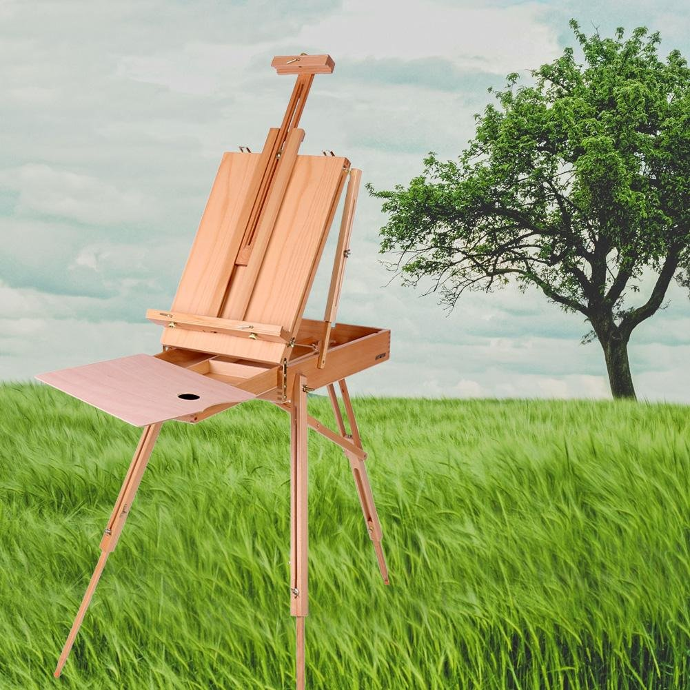 French Art Easel, 1pc Wooden Table Painting Easel Case Sketch Box Portable Folding Artist Painters Tripod with Shoulder Strap for Field Painting and Drawing(Large)(大号) by Zerone (Image #3)