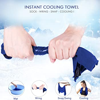 2x Instant Cooling Sports Towels ~ Charcoal /& Bamboo ~ Camping ~ Microfibre