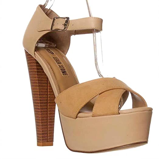 Leila Stone Bethan Ankle Strap Sandals Tanfrappe Beige Size 75