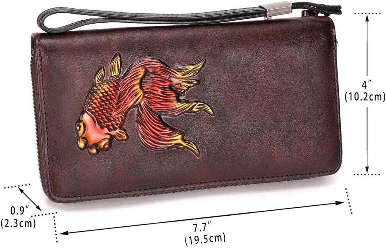 Woodtree LIrte Purse Leather Lady Long Clutch Hand Leather retro Multifunction Leather bag zipper (Color: E) Color: D (Color : B) C