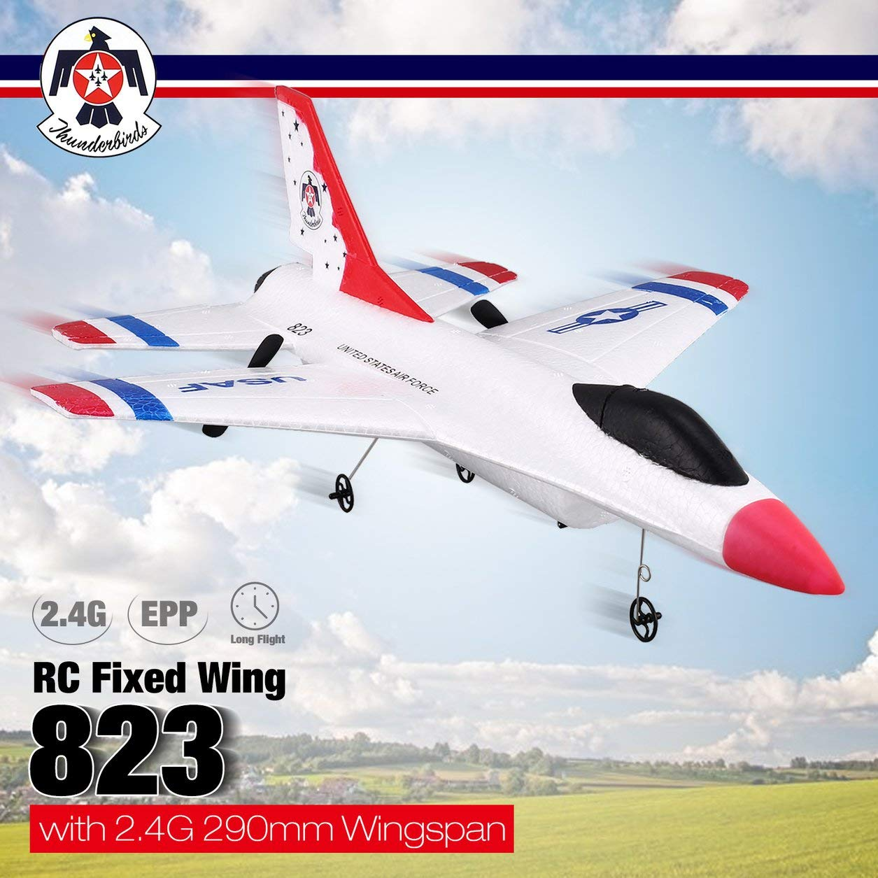 Dailyinshop Dailyinshop Dailyinshop FX-823 2,4G 2CH Fernbedienung Segelflugzeug 290mm Spannweite EPP RC Fixed Wing Flugzeug Flugzeug Fernbedienung Drohne für Kind Geschenk RTF (Farbe  Weiß) 55d43a