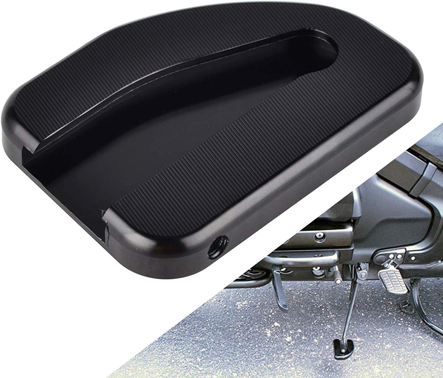 Basage Support la t/éRal de Plaque de Support de B/éQuille de Moto /éLargissant la Base pour Goldwing 1800 Gl1800 2010-2018 Accessoires de Moto Noir