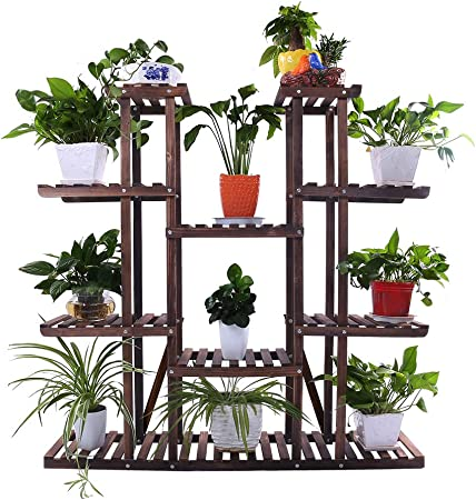 Wood Stand Plant Pot Shelf Display Holder Rack Tool For Outdoor Indoor Garden A+